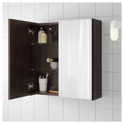 Ikea Bathroom Mirror Cabinet by Ikea Lill 197 Ngen Mirror Cabinet With 2 Doors Black Brown