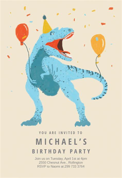 dinosaur fiesta  birthday invitation template