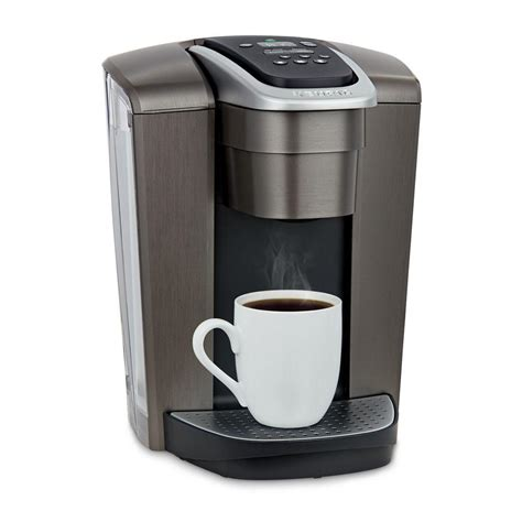 It has a sleek modern look and comes in brushed slate, silver, or gold. Keurig Green Mountain K-Elite Single Serve Coffee Maker in Brushed Slate-5000197490 - The Home Depot