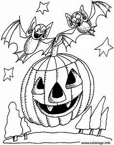 Citrouille Halloween Dessin : coloriage citrouille d halloween avec deux chauve souris ~ Melissatoandfro.com Idées de Décoration
