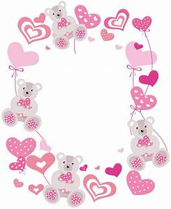 Transparent Hearts PNG Photo Frame with Teddy Bears ...