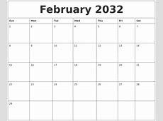 February 2032 Printable Calendar Template