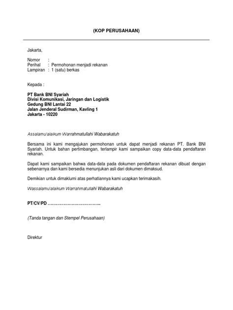 contoh surat permohonan rekananpdf