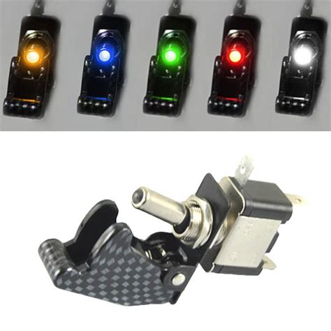 universal 5pcs 12v 20a car truck carbon fiber led light