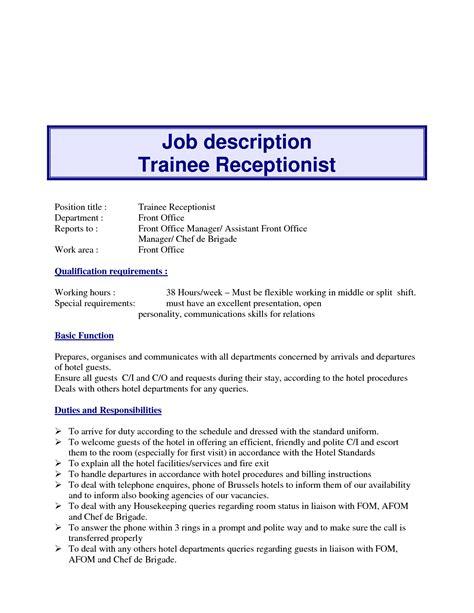front desk receptionist job description for resume 10 exle resume receptionist job description