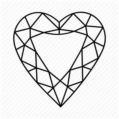 Heart Diamond Outline Shape Drawing Gem Hearts