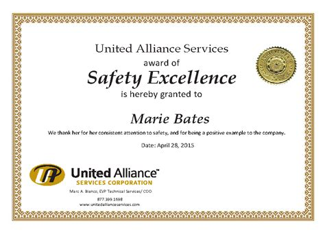 Safety Recognition Certificate Template by Certificate Templates Safety Award Gallery Certificate