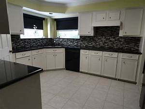 kitchen glass mosaic tile floor tile paint before and With kitchen colors with white cabinets with steve mcqueen wall art