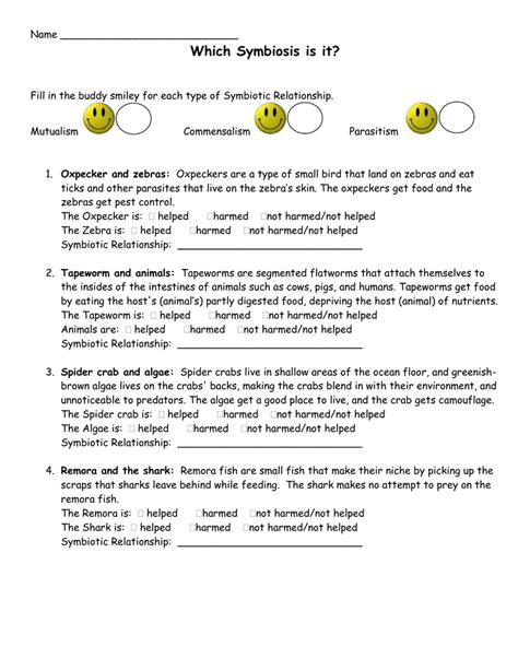 worksheet types of symbiosis worksheet grass fedjp