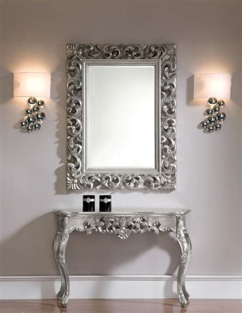 mr meuble canapé ornate console table with an optional mirror in silver or