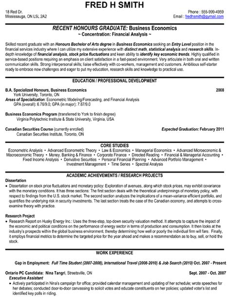 financial analyst business economics resume sle