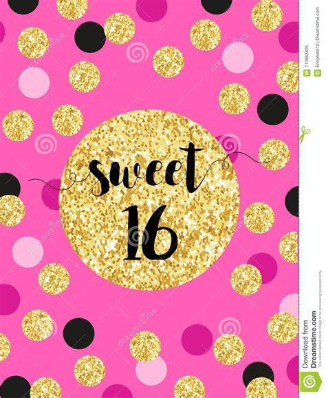 Cute Festive Bright Sweet Sixteen Card With Golden Glitter ...