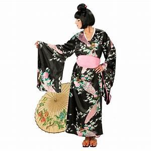 Geisha Kostüm Kinder : schwarzer kimono kost m geisha mit bl ten 39 99 ~ Frokenaadalensverden.com Haus und Dekorationen