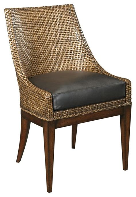 small side chair woven leather upholstered brown umber