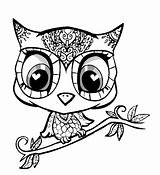 Owl Coloring Pages Cartoon Bird Nocturnal Clip Printable Animals Craft Arts sketch template