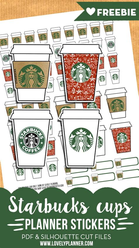 starbucks cups stickers  planner printable advent