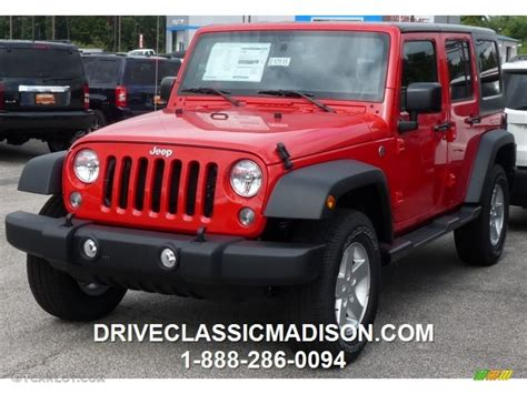 red jeep 2016 2016 firecracker red jeep wrangler unlimited sport 4x4