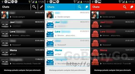cambia el aspecto de whatsapp  android  estos  temas