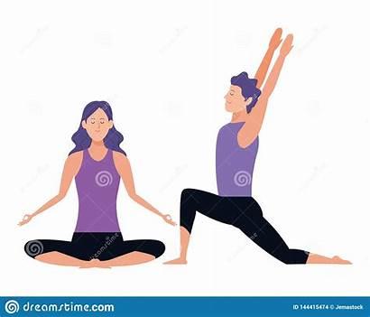 Yoga Poses Couple Avatars Cartoon