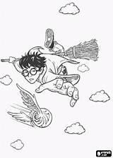 Harry Potter Coloring Pages Flying Printable Quidditch Broom Drawings Playing Catch Oncoloring Magic sketch template