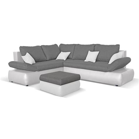 canapé d angle convertible avec repose pieds cuir