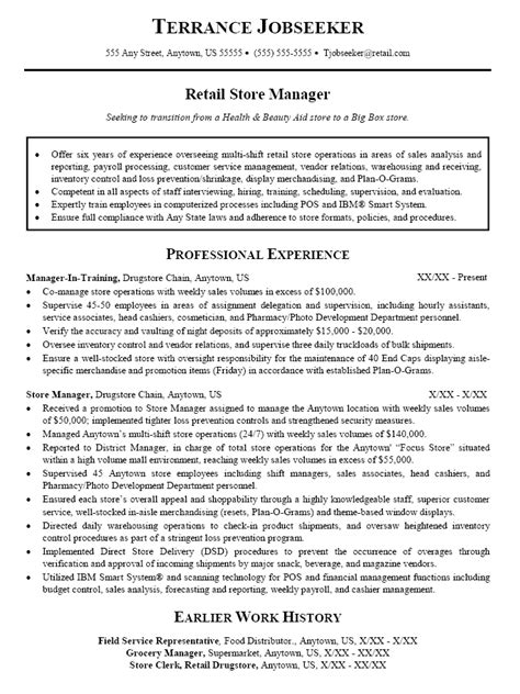 Retail Manager Resume Exles by Retail Sales Manager Resume Sle Vvengelbert Nl