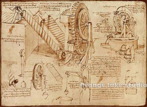 da vinci manuscript vintage mechanical painting pure