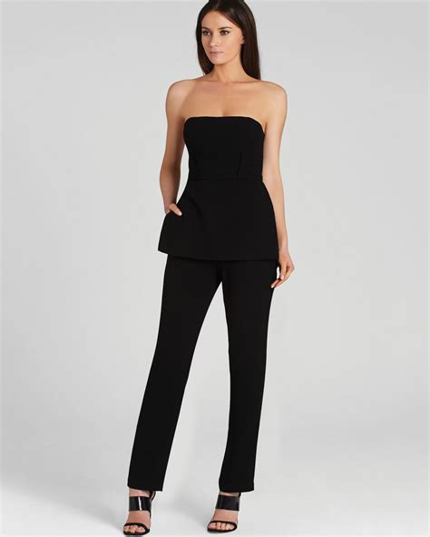 strapless jumpsuit bcbgmaxazria jumpsuit strapless peplum in black
