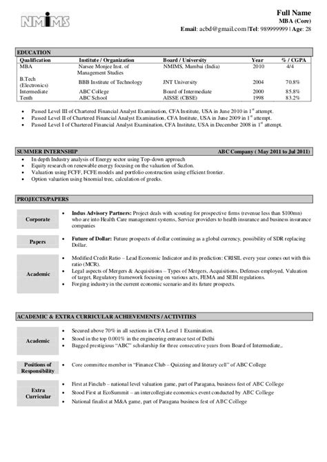 Mba Resume Sles India by Sle Resume Fresher