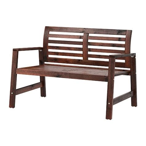 ÄpplarÖ Bench With Backrest, Outdoor  Brown Stained Ikea
