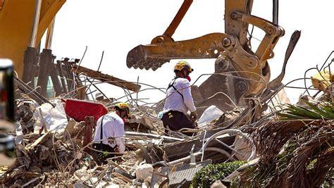 la busqueda de  edificio derrumbado en florida llevara semanas cuando el numero de muertos