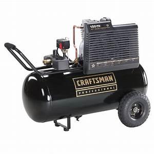 Craftsman 25 Gal  Air Compressor  1 6 Hp  Horizontal Tank