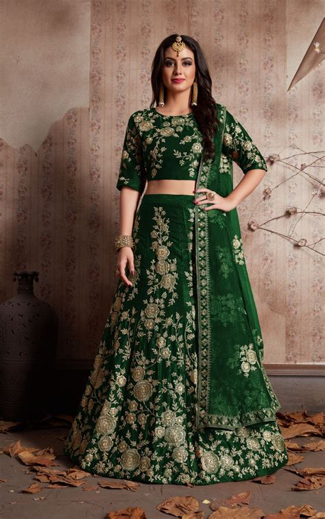 indian dress green color bridal lehenga