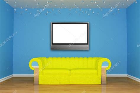 Blu Soggiorno Minimalista Con Divano Giallo E Lcd Tv