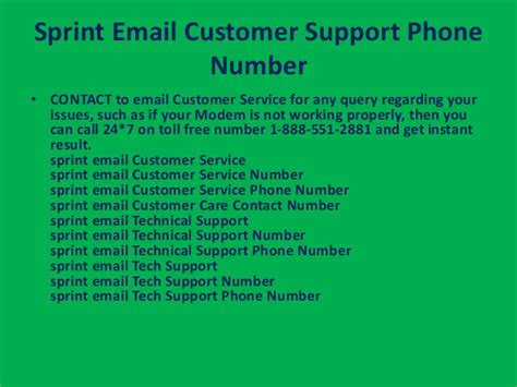 sprint email customer service phone number