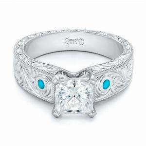 custom diamond and turquoise engagement ring 102366 With turquoise and diamond wedding ring