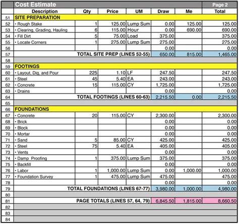 pin  construction spreadsheet