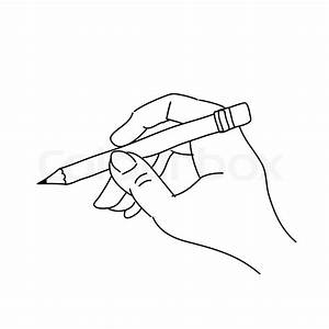 Hand drawing hand holding pencil   Stock Vector   Colourbox