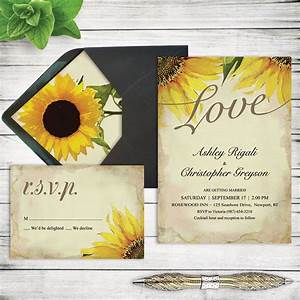 rustic sunflower wedding invitation set printable marriage With wedding invitation templates with sunflowers