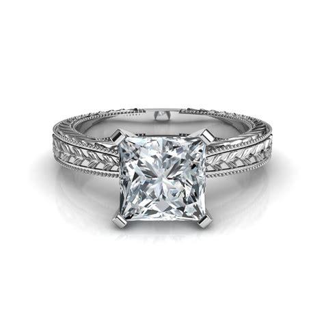hand engraved princess cut diamond solitaire engagement