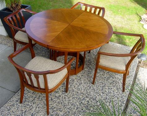 mid century modern vintage teak extendable dining table