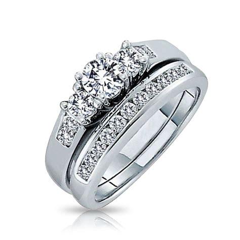 silver  present future cz engagement wedding ring set