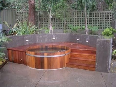 tub outdoor design 48 awesome garden hot tub designs digsdigs