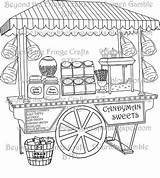 Sweets Candy Coloring Sweet Illustration Beyondthefringecrafts Stall Ice Cream Bags sketch template