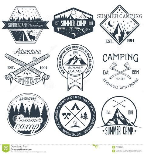 Vector Set Of Camping Labels In Vintage Style Summer Camp