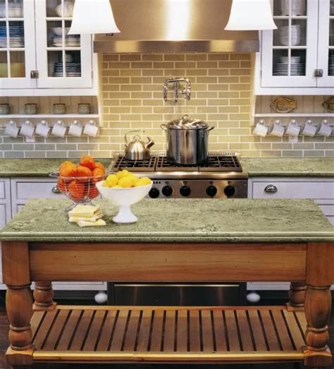 typhoon green granite kitchen subway tile with a combination of traditional and modern 6458