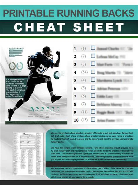 running backs cheat sheet  printable format