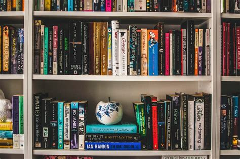 assorted-labeled book lot on white wooden shelf photo ...