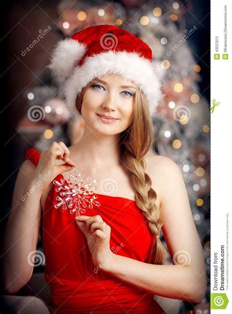 young beautiful smiling santa woman   christmas