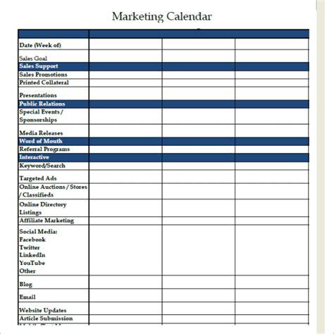 sample marketing calendar  documents   word